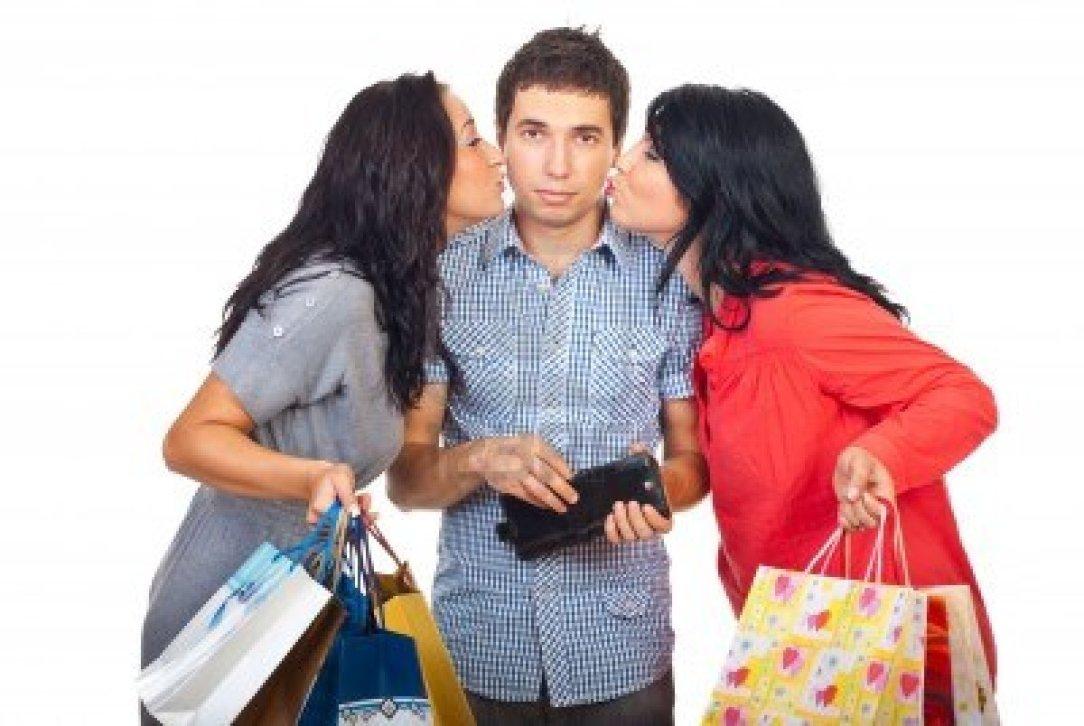8103136-due-donne-baciando-triste-uomo-rassegnato-le-guance-per-dare-loro-soldi-dal-suo-portafoglio-per-lo-s