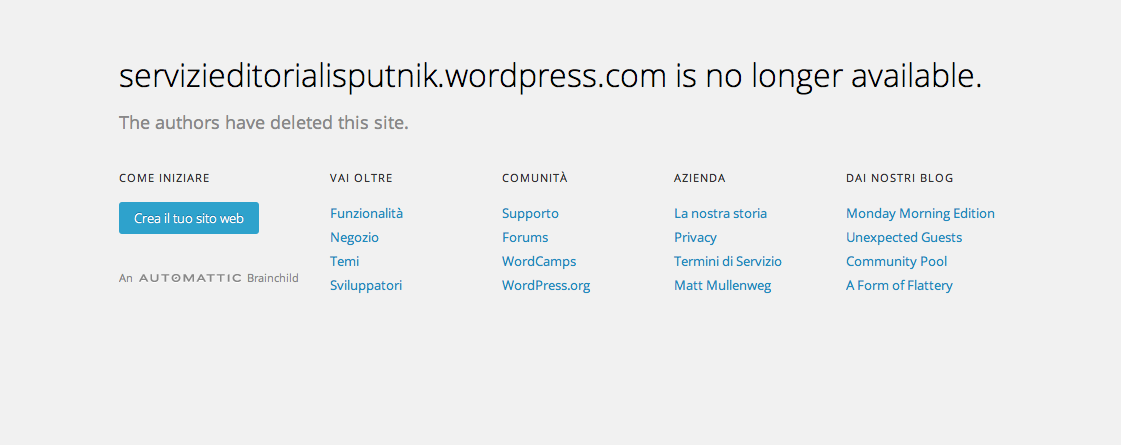 Sputnik servizi editoriali blog wordpress cancellato