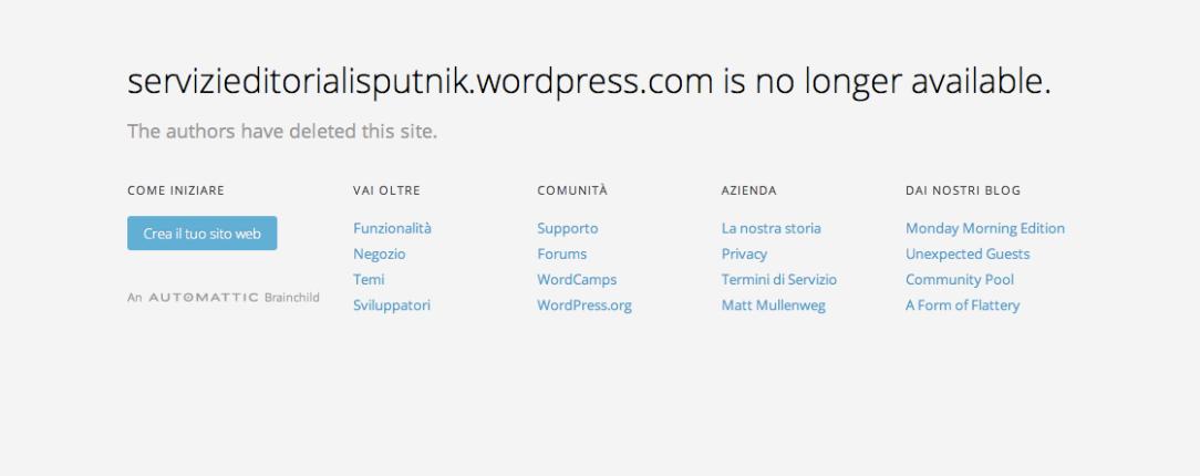 Sputnik servizi editoriali blog wordpress cancellato